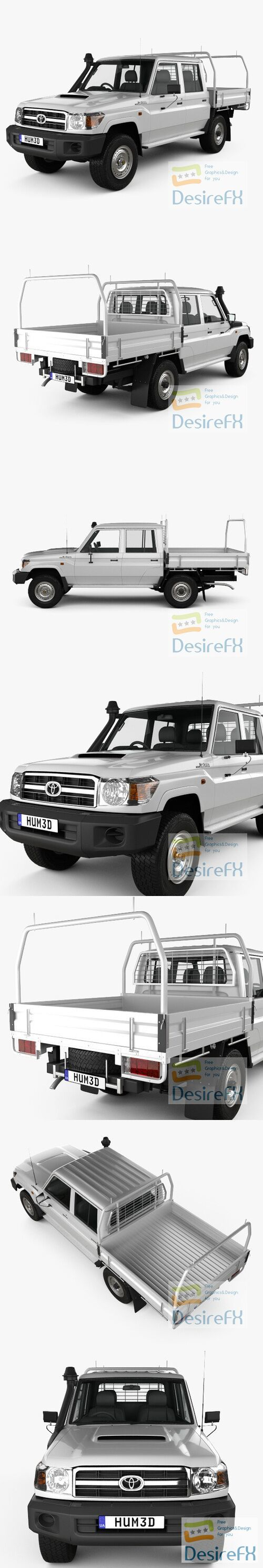 Toyota Land Cruiser Double Cab Pickup VDJ79 2012 3D Model