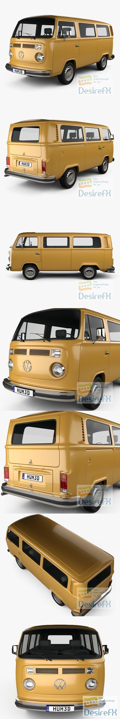 Volkswagen Transporter Passenger Van 1972 3D Model