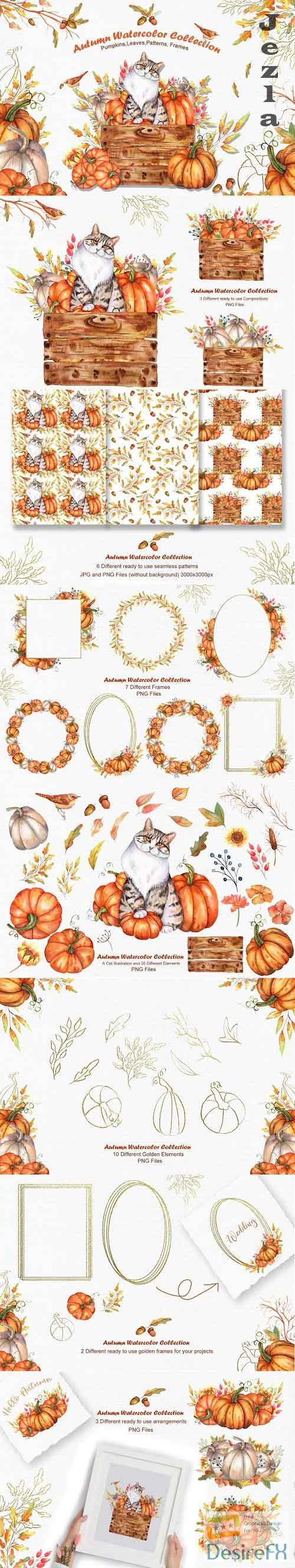 Watercolor Autumn Cat Collection - 5308897
