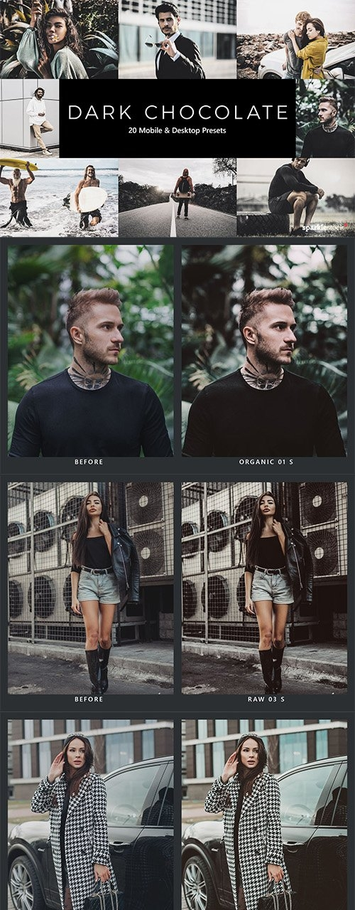 20 Dark Chocolate Lightroom Presets & LUTs