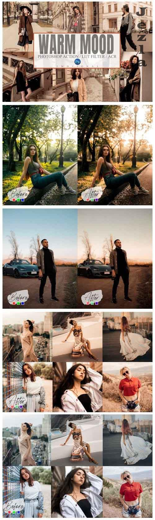 6 Warm Mood Photoshop Action, ACR, LUT Filter Presets - 945611