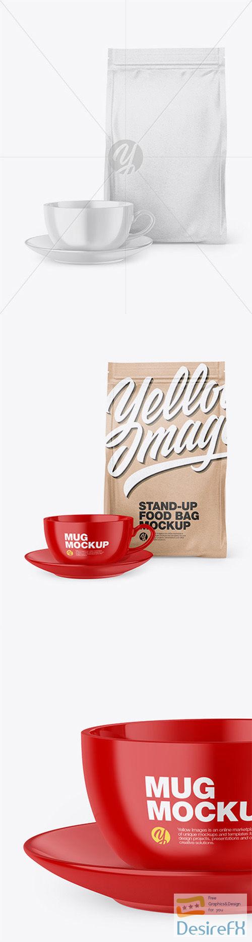 Kraft Stand-Up Bag with Coffee Mug Mockup 66561