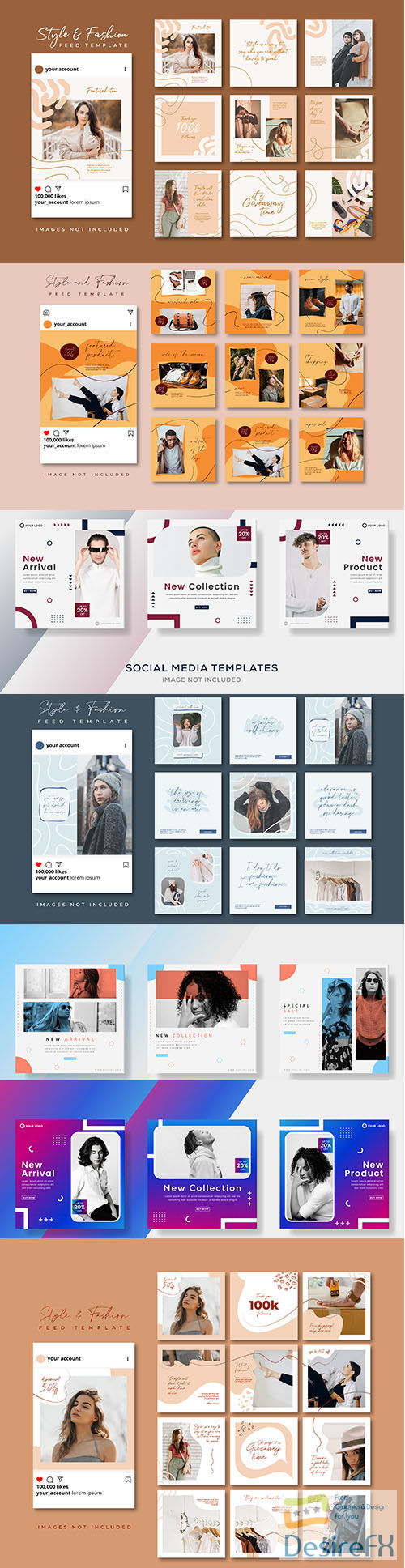 Abstract banners template social media post