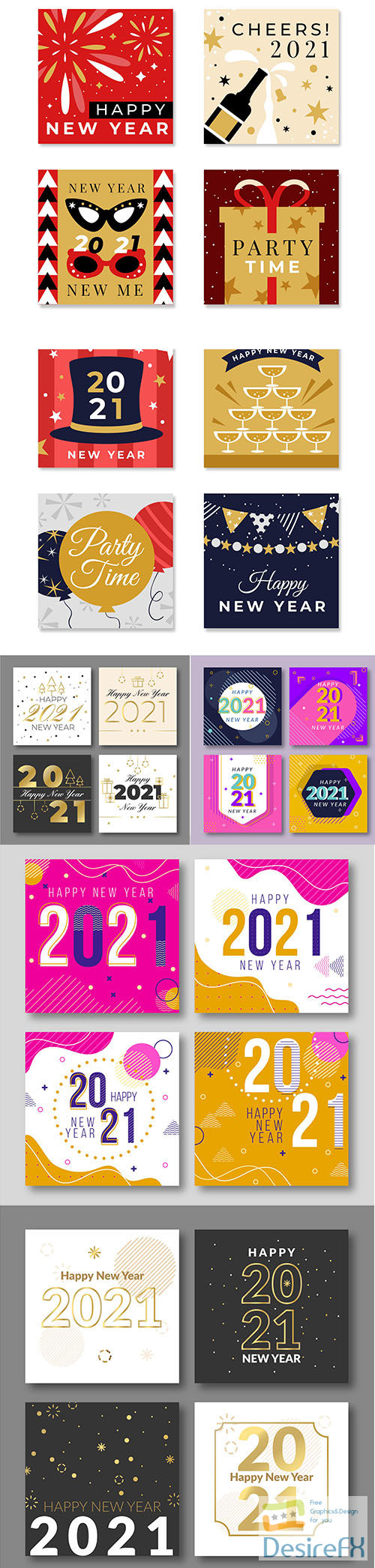Abstract new year 2021 cards