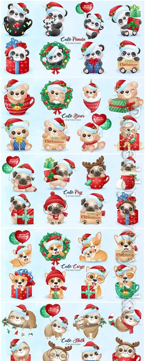 Animals vector for christmas day with watercolor illustration