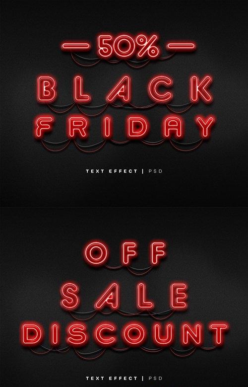 Black Friday Neon Text Effect Mockup