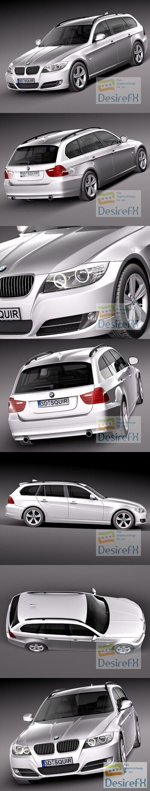 BMW 3-series E91 Estate 2006-2011 3D Model