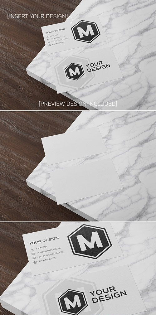 Business Cards on Wooden and Marble Surface Mockup 332483511