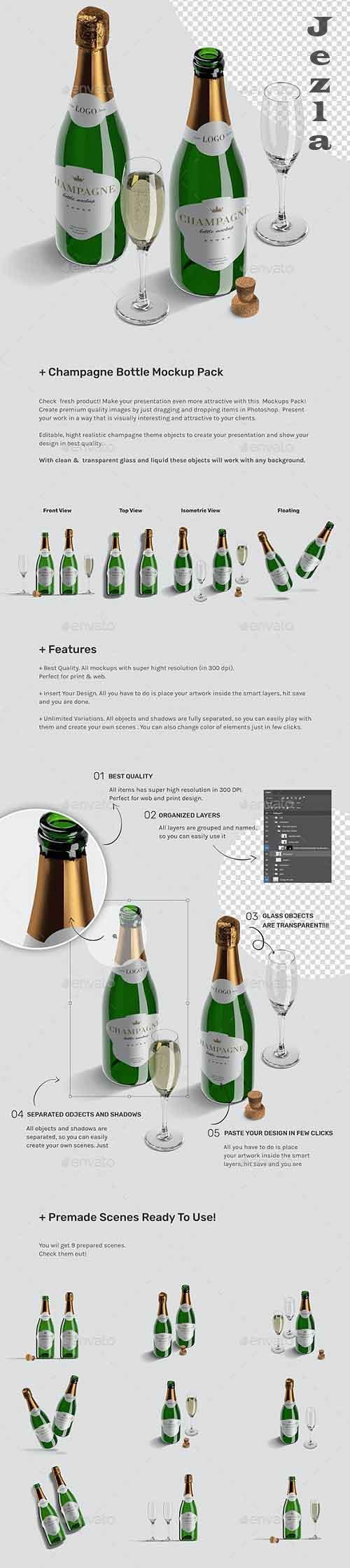 Champagne Bottle Mockup Pack 26775293