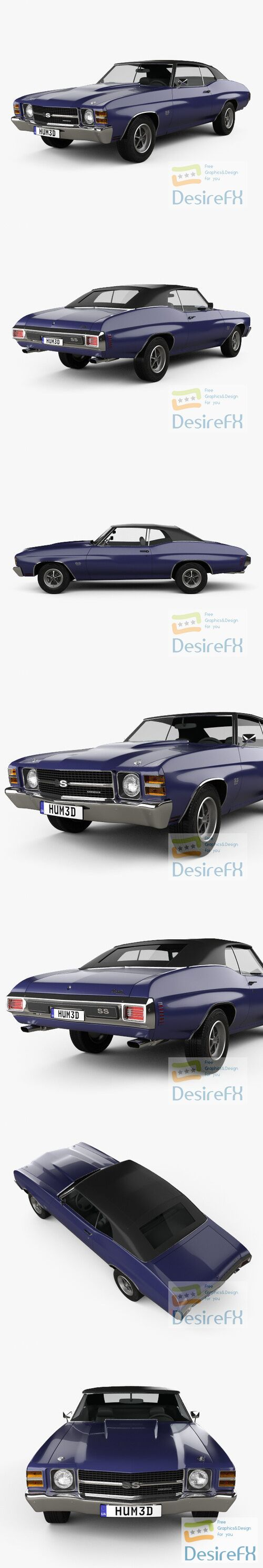 Chevrolet Chevelle SS 454 LS5 convertible 1971 3D Model