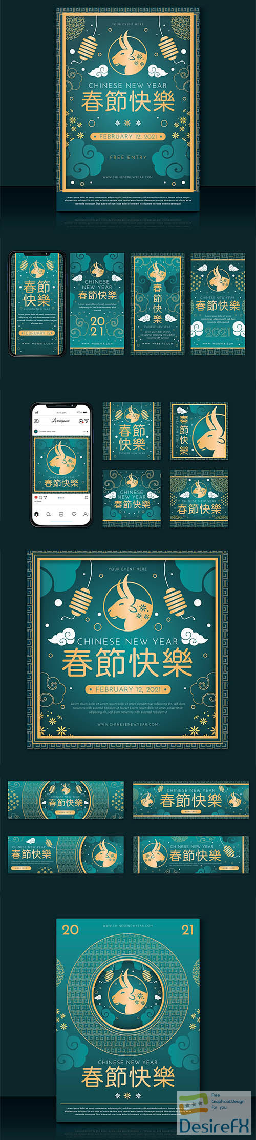 Chinese new year banners template set