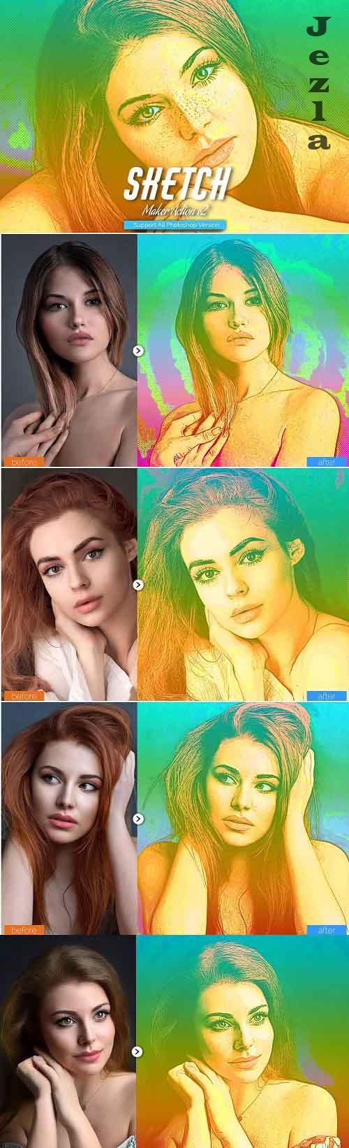 Color Sketch Photoshop Action V2 - 5467241