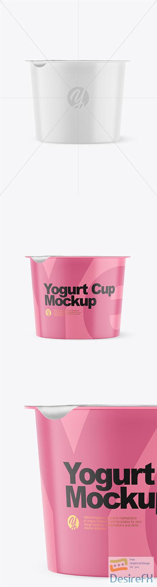Matte Plastic Yogurt Cup With Foil Lid Mockup - Front View 66340