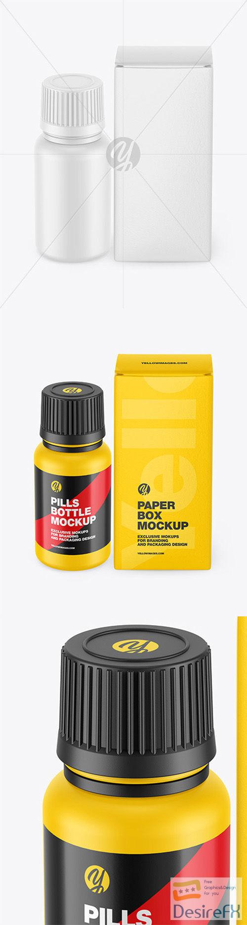 Matte Pills Bottle W/ Paper Box Mockup 66398