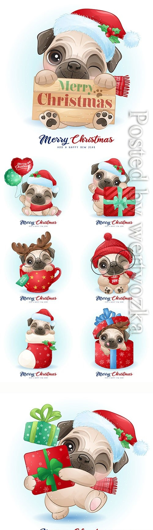 Cute doodle pug for christmas day with watercolor vector illustration