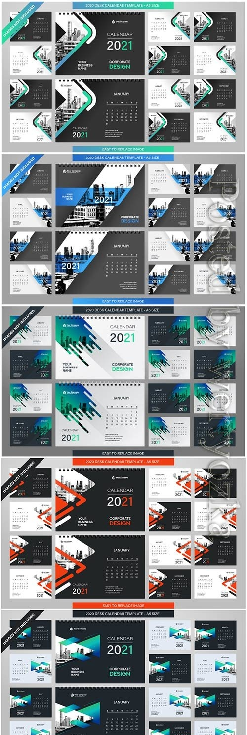Desk calendar 2021 template - 12 months included