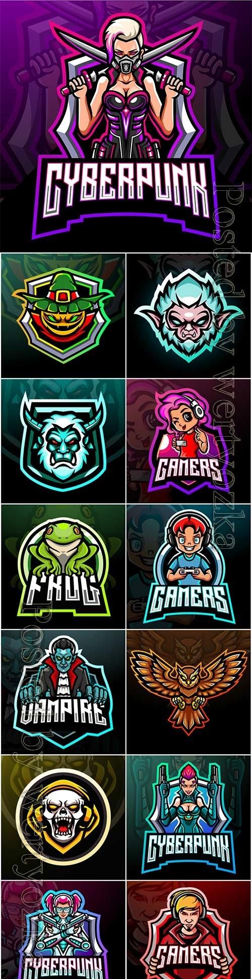 Esport logo mascot design premium vector