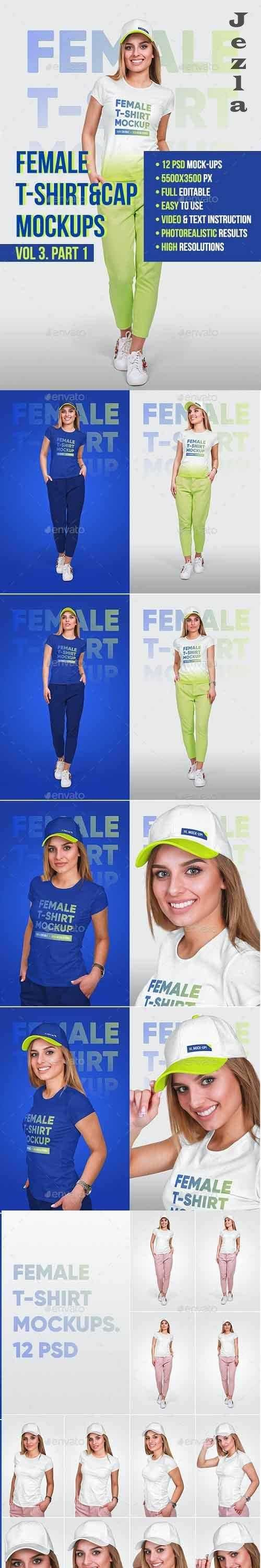 Female T-Shirt & Baseball Cap Mockup - 22056938 - 5336808