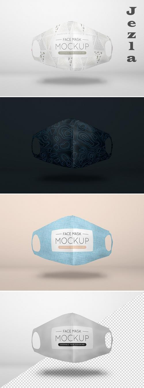 Floating Washable Face Mask Mockup 386970380