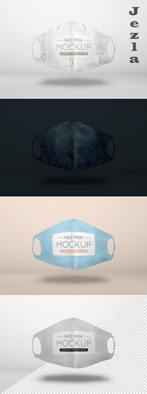 Floating Washable Face Mask Mockup 386970380
