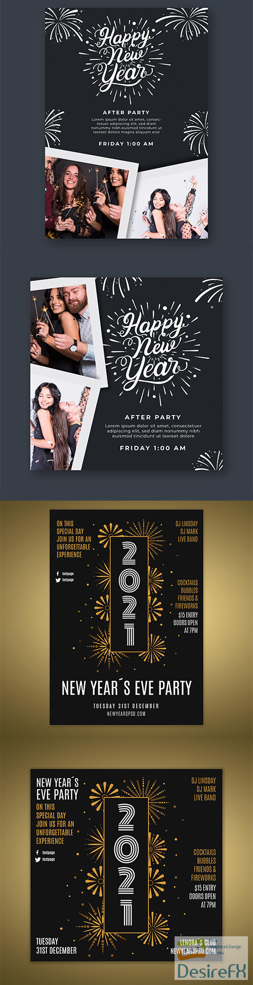 Flyer template for new years party