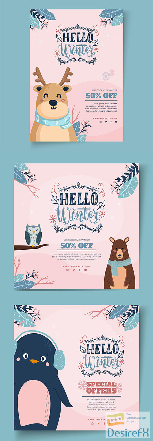 Flyer template for winter sale with animals