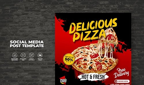 Food menu and delicious hot fresh vector pizza