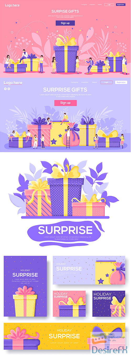 Gifts with ribbons banners background