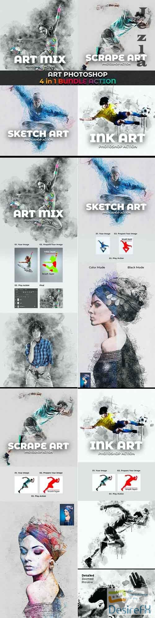 GraphicRiver - Art Photoshop Action 4 in 1 Bundle 29133173