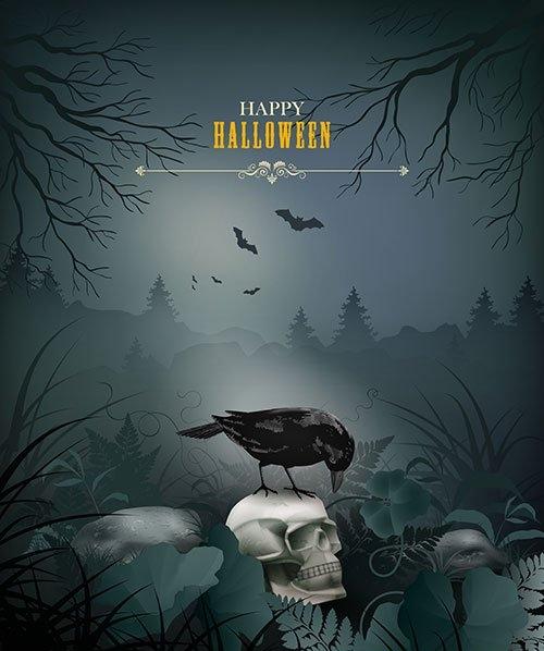 Halloween night scene with skull