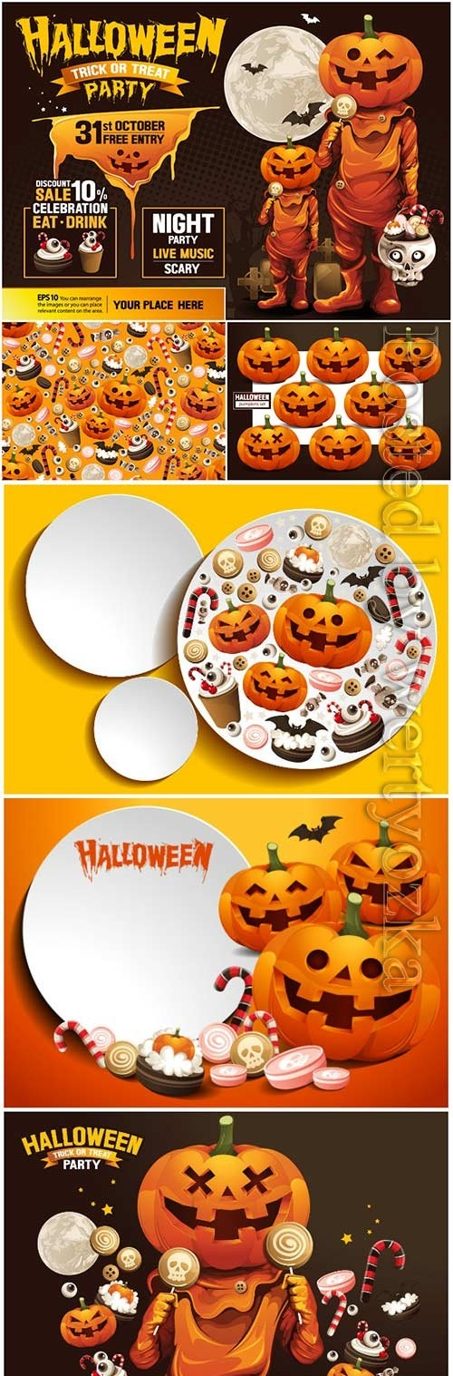 Happy halloween vector, ghost, treat or trick