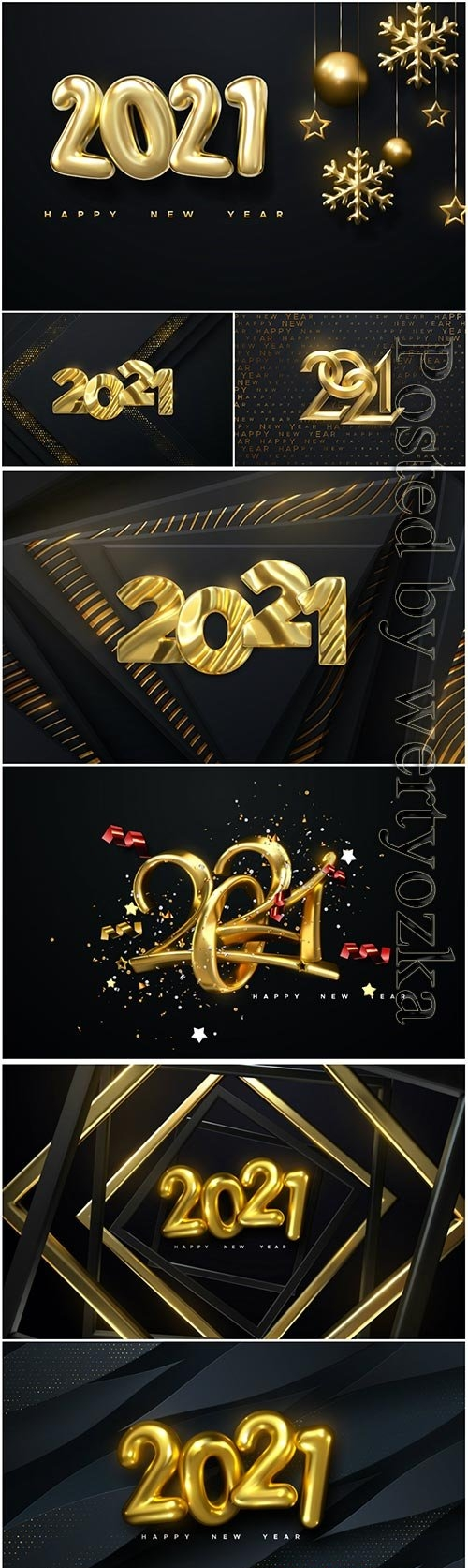 Happy new 2021 year, golden numbers on black background textured