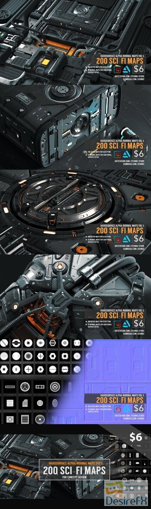Hardsurface Alpha-Normal Maps Vol 1 200 Sci-Fi Maps