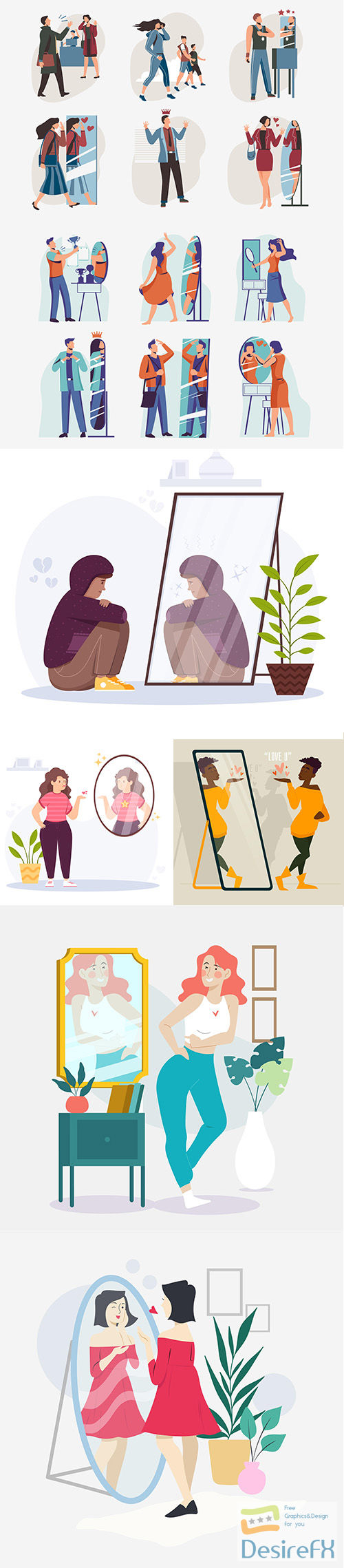 High self-esteem illustration collection with people