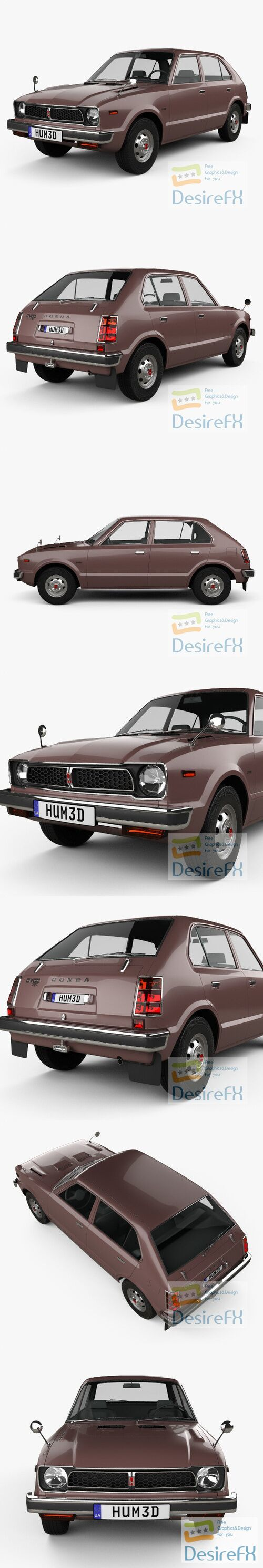 Honda Civic 4-door 1976 3D Model