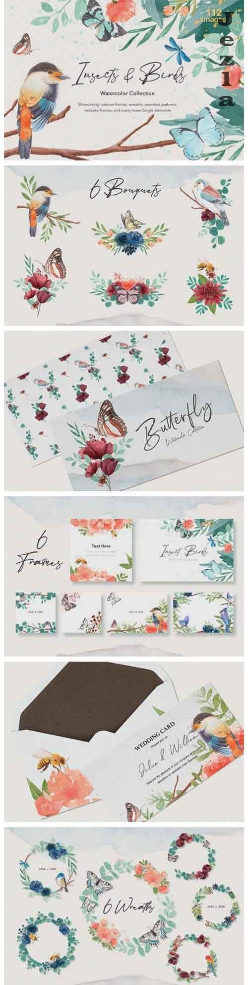 Insects & Birds Watercolor Set - 5504803