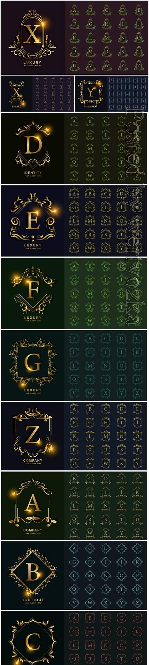 Letter or collection initial alphabet with luxury ornament floral frame golden logo template