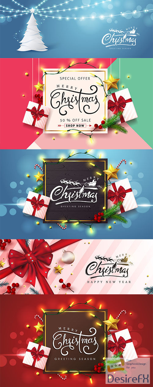 Merry christmas background design Vol 2