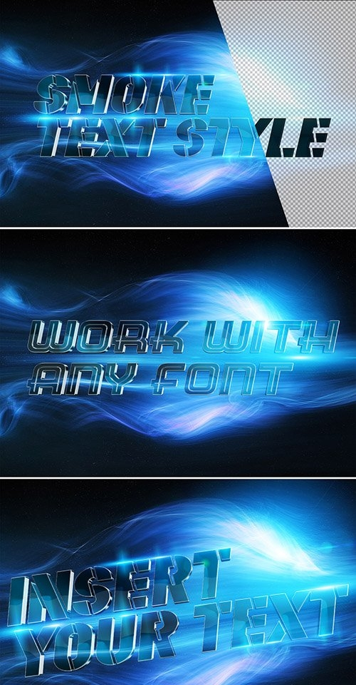Metallic Blue 3D Text Effect with Blue Smoke Elements 332482942