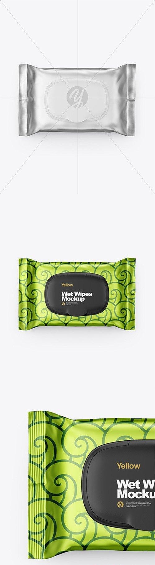 Metallic Wet Wipes Pack With Plastic Cap Mockup - Top View 62237
