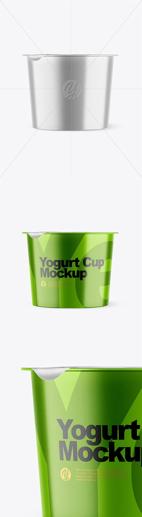 Metallic Yogurt Cup With Foil Lid Mockup - Front View 66464