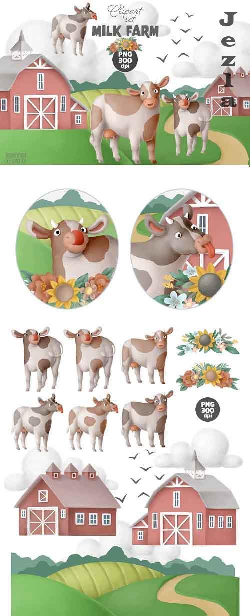 Milk Farm clipart set - 5465395