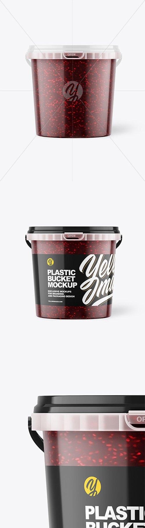Plastic Bucket with Raspberry Jam Mockup 66489