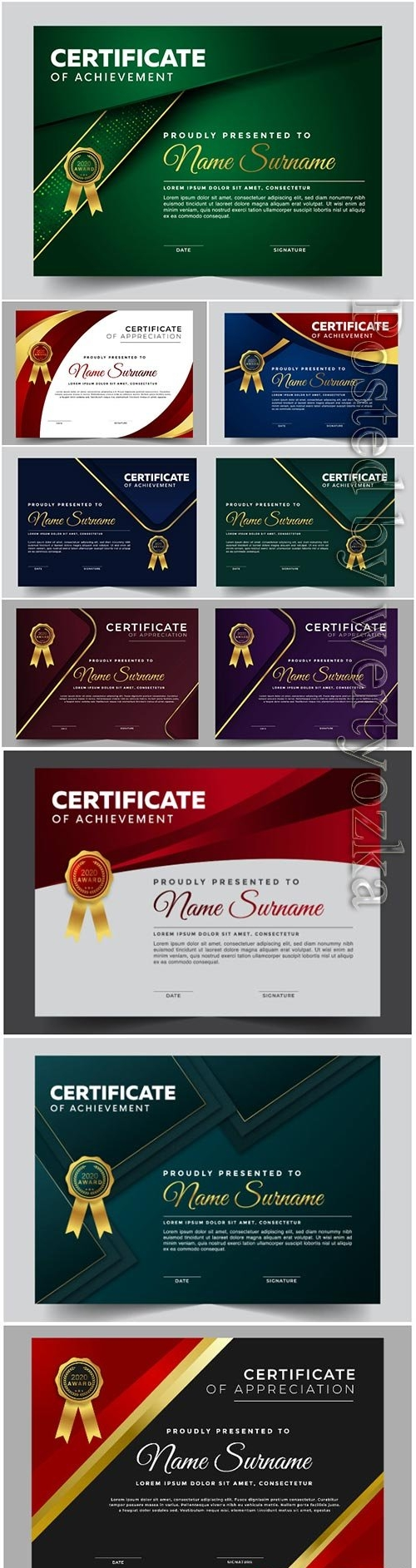 Professional certificate vector design template