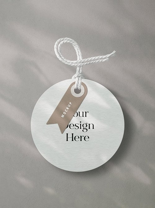Round Decorative Clothes Label Tag with Twine Mockup 332731731