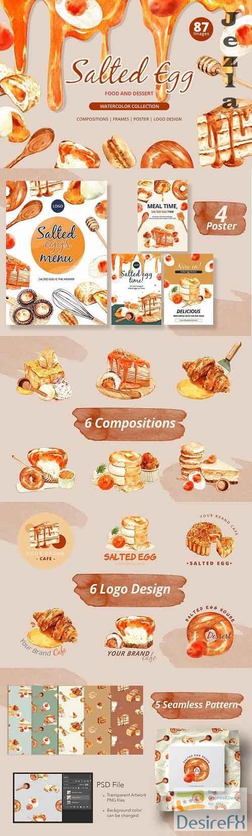 Salted Egg Food and Dessert Set - 5529704