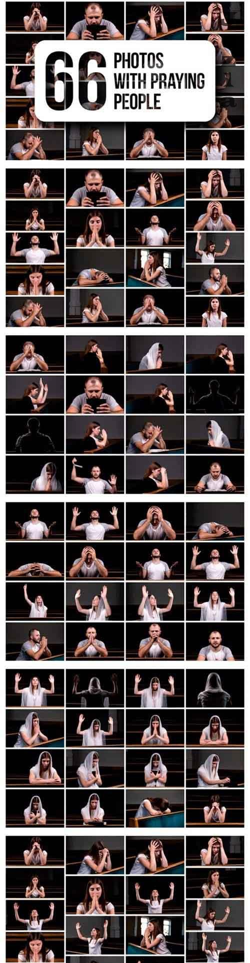 Set of 66 Photos with Praying People