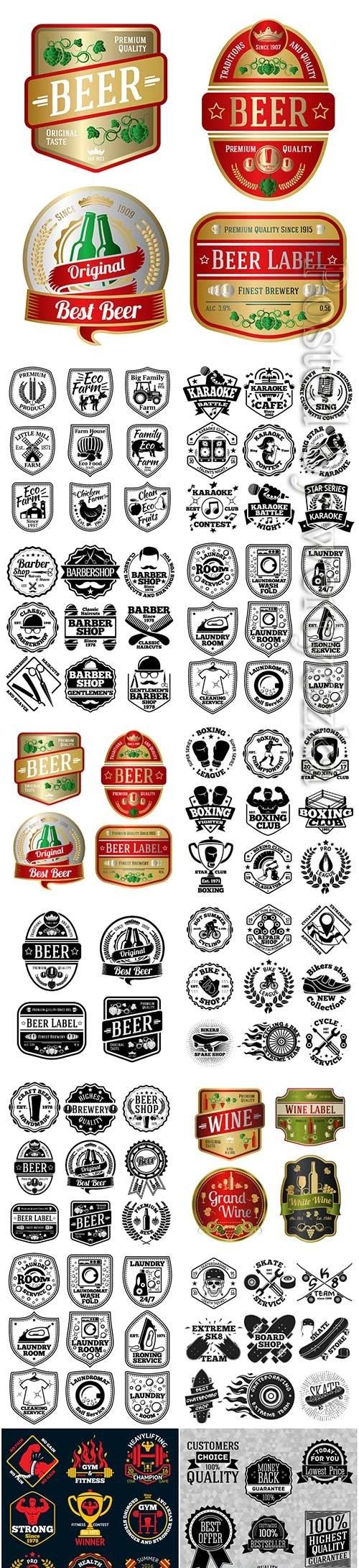 Set of labels premium vector