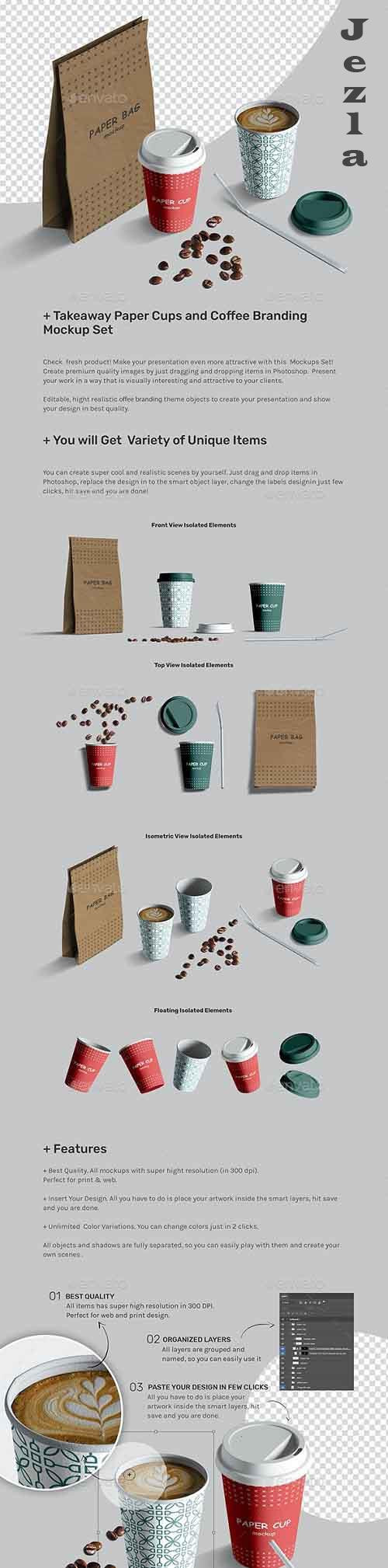 Takeaway Paper Cups and Coffee Branding Mockup Set 27121649