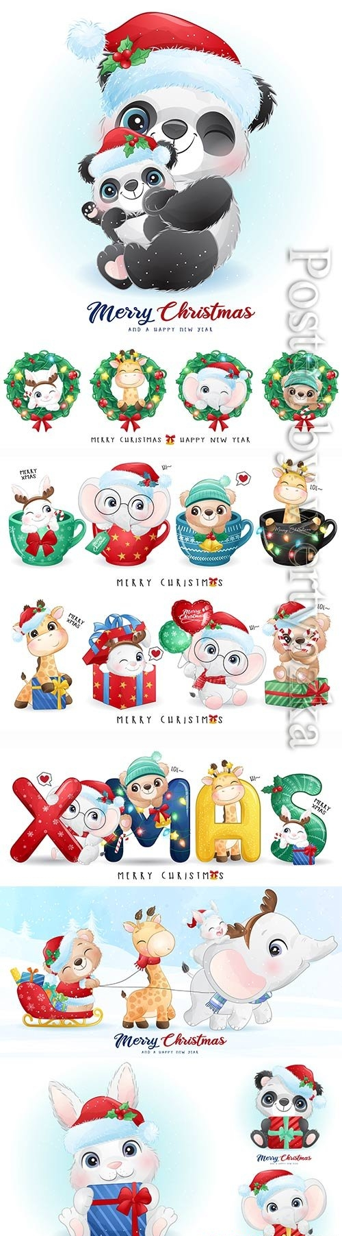 Vector christmas cut animals